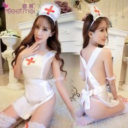 【情趣内衣】霏慕白色缎面护士套装7987【原9501】(限价销售)更换图片包