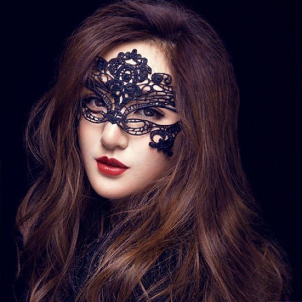 霏慕蕾丝镂空黑色眼罩女王面具
