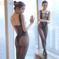【情趣内衣】【天猫专区】霏慕宽边肩带几何印花连身袜7545(限价销售)