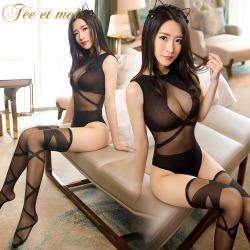 【情趣内衣】霏慕几何线条连体袜套装7534【限价】