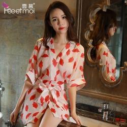 【情趣内衣】【天猫专区】霏慕烈焰红唇系带睡袍7744(限价销售)