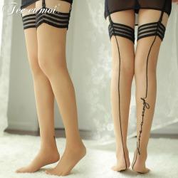 【情趣内衣】霏慕复古背线条纹边长筒袜7207(限价销售)