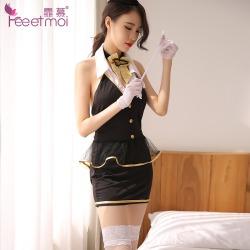 【情趣内衣】霏慕露背包臀空姐制服套装7929(限价销售)