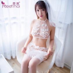 【情趣内衣】霏慕网纱水溶刺绣浪漫新娘套装7725(限价销售)更改详情