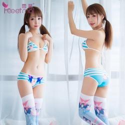 【情趣内衣】霏慕少女蓝白条纹三点式印花绑带套装7024【限价销售】
