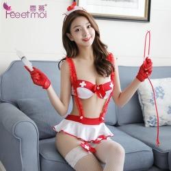 【情趣内衣】霏慕纯情俏皮风背带式护士三点套装7028(天猫可上架)