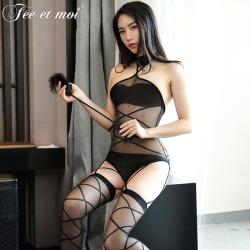 【情趣内衣】霏慕挂胸裸背交叉线条连身袜7573(天猫可上架)