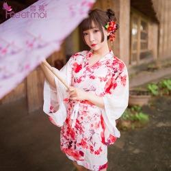 【情趣内衣】霏慕开襟低领印花和服7062(限价销售49.8)