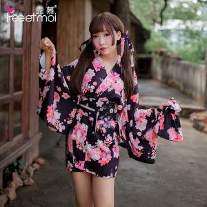 【情趣内衣】霏慕羽织COSPLAY角色扮演可爱樱花猫咪印花和服7063(限价销售88)