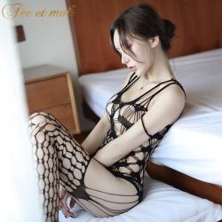 【情趣内衣】霏慕爱心图案露背开裆连身袜7512(限价销售29.8)