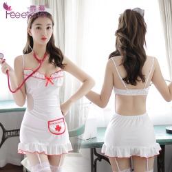 【情趣内衣】霏慕白衣天使露背护士裙套装7982(限价销售56元)
