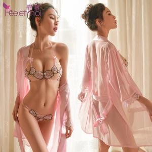 【情趣内衣】霏慕玫瑰刺绣开档露乳三点式套装7896(限价销售68元)