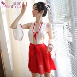 【情趣内衣】霏慕日系挂脖露背小巫女套装7005(限价销售68元)