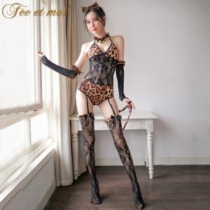 【情趣内衣】霏慕狂野豹纹连身袜套装7498 (限价销售49.9)