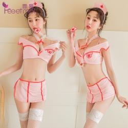 【情趣内衣】霏慕钢圈棉垫粉嫩护士套装7906 (限价销售68)