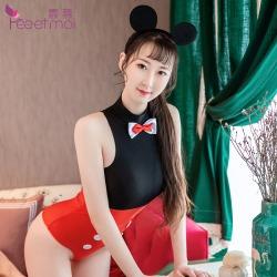 【情趣内衣】霏慕卡通老鼠可开档连体衣7010(限价销售39)