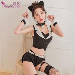 【情趣内衣】霏慕帅气绅士猫女分体套装7953(限价销售68)