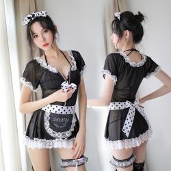 【情趣内衣】霏慕可爱点点透视女仆套装7910(限价销售58)