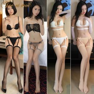 【情趣内衣】霏慕连露臀T裤吊袜带7608-长筒丝袜7241(限价销售15.9)