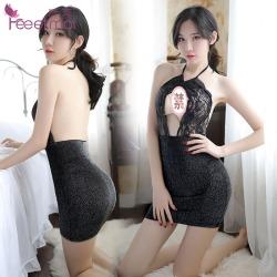 【情趣内衣】霏慕蕾丝珠光挂脖包臀睡裙7979(限价销售39)更新图片包