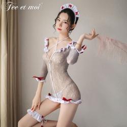 【情趣内衣】霏慕开襟拉链式护士连身袜套装7479【限价销售39.9】