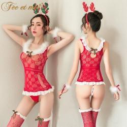 【情趣内衣】霏慕圣诞麋鹿毛毛网衣套装7460【限价销售39.9】