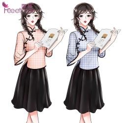 【情趣内衣】霏慕复古格子民国学生装7964(限价销售58元)
