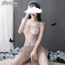 【情趣内衣】霏慕木耳飞肩露乳网衣裙套装7427【限价销售29.9】