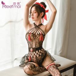 【情趣内衣】霏慕流苏八卦连体网衣套装7431(限价销售32.9)