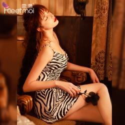 【情趣内衣】霏慕斑马图案含胸垫吊带睡裙7829【限价销售39】