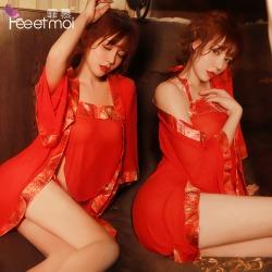 【情趣内衣】霏慕红色网纱古装新婚睡裙套装7970(限价销售49)图片包翻新