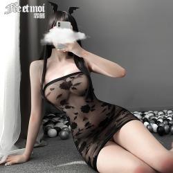 【情趣内衣】霏慕暗夜玫瑰抹胸包臀裙7571(限价销售22.9)