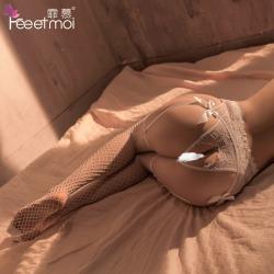 【情趣内衣】霏慕珍珠开裆内裤吊袜带套装7603(限价销售32.9)