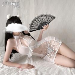 【情趣内衣】霏慕水滴镂空露背透纱旗袍7085(限价48)