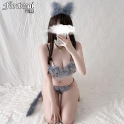 【情趣内衣】霏慕可爱猫咪毛毛三点式套装6962(限价48)